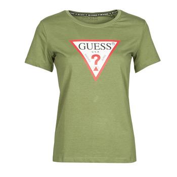 Clothing Women Short-sleeved t-shirts Guess SS CN ORIGINAL TEE Kaki