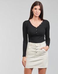 Clothing Women Long sleeved tee-shirts Guess ES LS V NECK LOGO HENLEY TEE Black