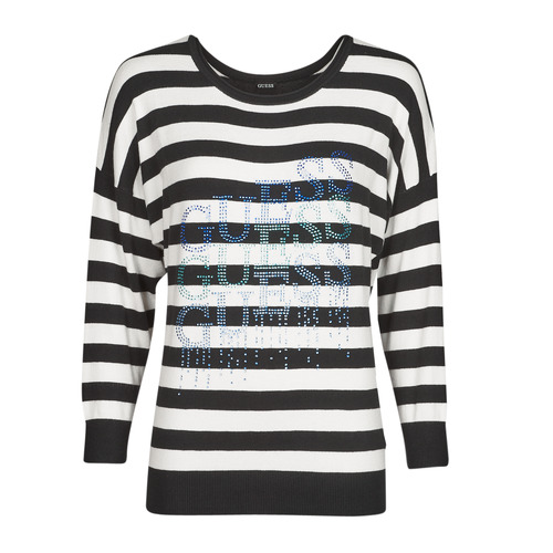 Clothing Women Jumpers Guess CLAUDINE BAT SLEEVE SWTR Black / White