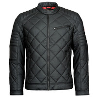 Clothing Men Leather jackets / Imitation leather Guess STRETCH PU QUILTED JKT Black