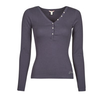 Clothing Women Long sleeved tee-shirts Guess ES LS V NECK LOGO HENLEY TEE Navy / Space