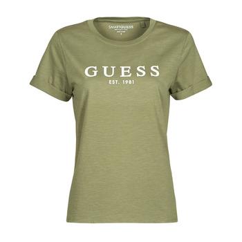Clothing Women Short-sleeved t-shirts Guess ES SS GUESS 1981 ROLL CUFF TEE Kaki