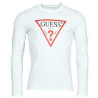 Clothing Men Long sleeved tee-shirts Guess CN LS ORIGINAL LOGO TEE White