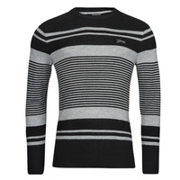 Clothing Men Jumpers Guess LONDON EMBOSSED STRIPED CN Black / Grey