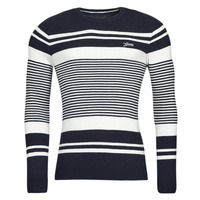 Clothing Men Jumpers Guess LONDON EMBOSSED STRIPED CN Marine / White