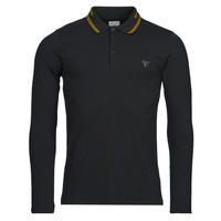 Clothing Men Long-sleeved polo shirts Guess OLIVER LS POLO Black