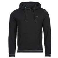 Clothing Men Sweaters Guess CHRISTIAN HOODIE FLEECE Black