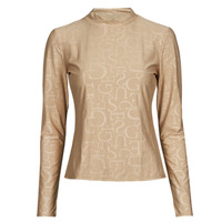 Clothing Women Long sleeved tee-shirts Guess LS EMBOSSED LOGO TOP Beige