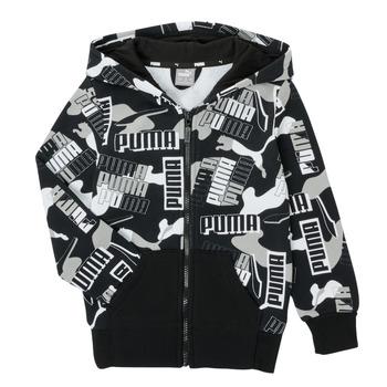Clothing Boy Sweaters Puma ALPHA AOP FZ Black