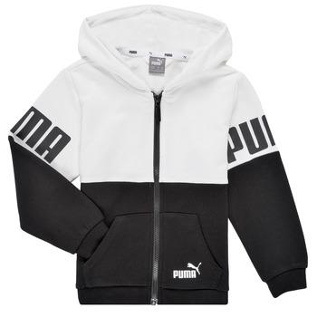 Clothing Boy Sweaters Puma PUMA POWER FZ HOODIE Black / White