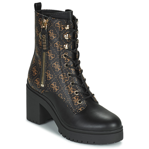 Shoes Women Ankle boots Guess CABRA Black / Brown