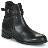 Shoes Women Mid boots Tommy Hilfiger TH HARDWARE ON BELT FLAT BOOT Black
