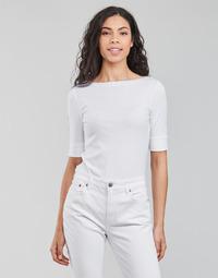 Clothing Women Long sleeved tee-shirts Lauren Ralph Lauren JUDY-ELBOW SLEEVE-KNIT White