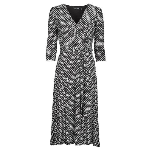 Clothing Women Long Dresses Lauren Ralph Lauren CARLYNA-3/4 SLEEVE-DAY DRESS Black