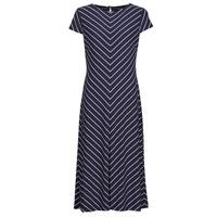 Clothing Women Long Dresses Lauren Ralph Lauren PIPPA-CAP SLEEVE-DAY DRESS Blue