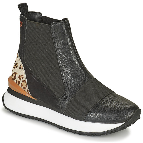 Shoes Women Hi top trainers Gioseppo LUNNER Black / Leopard