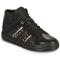Shoes Women Hi top trainers Geox LEELU Black / Silver