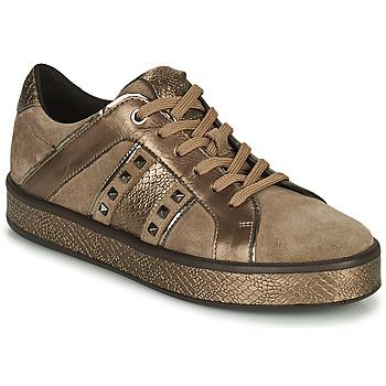 Shoes Women Low top trainers Geox LEELU' Brown / Gold