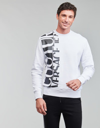 Clothing Men Sweaters Versace Jeans Couture LOGO STORY White / Black