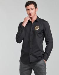 Clothing Men Long-sleeved shirts Versace Jeans Couture SLIM PRINT V EMBLEM GOLD Black / Gold