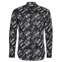 Clothing Men Long-sleeved shirts Versace Jeans Couture SLIM PRINT WARRANTY Black / White