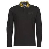 Clothing Men Long-sleeved polo shirts Versace Jeans Couture BAROQUE POLO T.SHIRT Black