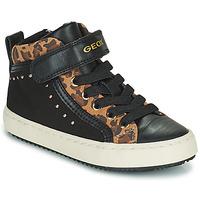 Shoes Girl Hi top trainers Geox KALISPERA Black / Leopard