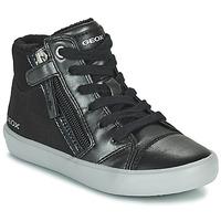 Shoes Girl Hi top trainers Geox GISLI Black / Silver