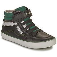 Shoes Boy Hi top trainers Geox GISL Black / Green