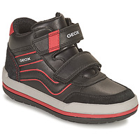 Shoes Boy Hi top trainers Geox CHARZ Black / Red