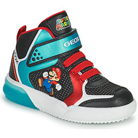 Shoes Boy Hi top trainers Geox GRAYJAY Black / Blue / Red