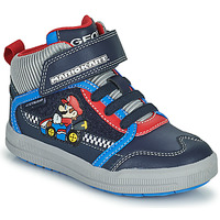 Shoes Boy Hi top trainers Geox ARZACH Blue / Red / Grey