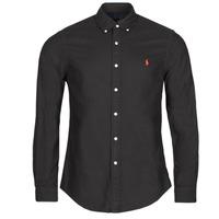 Clothing Men Long-sleeved shirts Polo Ralph Lauren CAMISETA Black