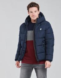 Clothing Men Duffel coats Superdry HOODED SPORTS PUFFER Blue
