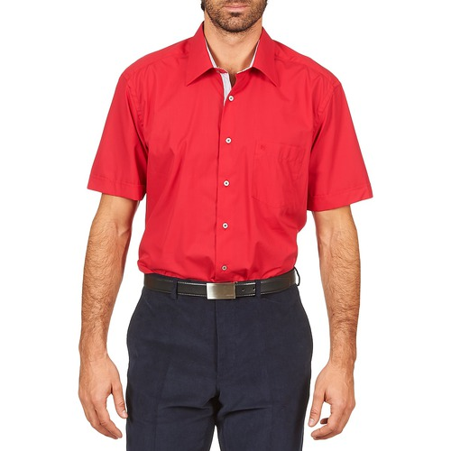 Clothing Men short-sleeved shirts Pierre Cardin CH MC POPELINE UNIE - OPPO RAYURE INTERIEUR COL & POIGNET Pink / Red