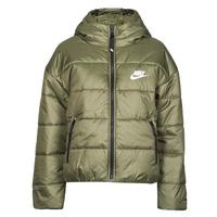 Clothing Women Duffel coats Nike W NSW TF RPL CLASSIC HD JKT Kaki / White
