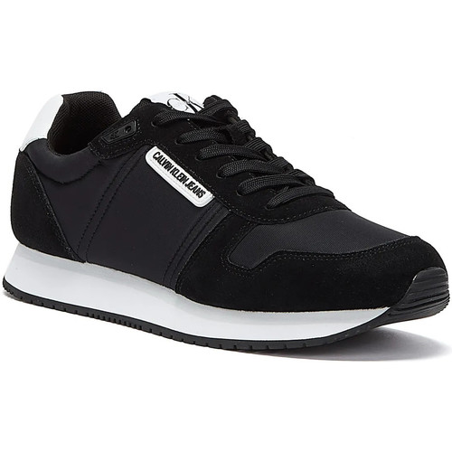 Shoes Women Low top trainers Calvin Klein Jeans Runner Lace Up Suede Womens Black Trainer Black