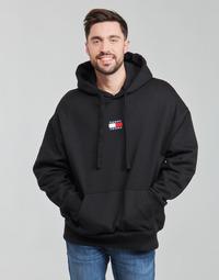 Clothing Men Sweaters Tommy Jeans TJM TOMMY BADGE HOODIE Black