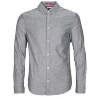 Clothing Men Long-sleeved shirts Tommy Jeans TJM STRETCH OXFORD SHIRT Black