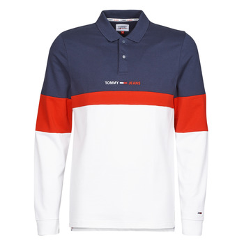 Clothing Men Long-sleeved polo shirts Tommy Jeans TJM REG COLORBLOCK POLO L/S Blue / White / Red