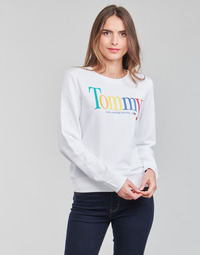 Clothing Women Sweaters Tommy Jeans TJW REGULAR COLOR TOMMY CREW White