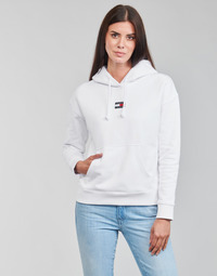 Clothing Women Sweaters Tommy Jeans TJW TOMMY CENTER BADGE HOODIE White