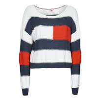 Clothing Women Jumpers Tommy Jeans TJW  RWB STRIPE SWEATER Blue / White / Red