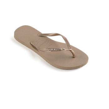Shoes Women Flip flops Havaianas SLIM METAL LOGO AND CRYSTAL Pink