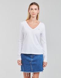 Clothing Women Long sleeved tee-shirts Tommy Hilfiger REGULAR CLASSIC V-NK TOP LS White