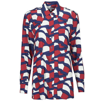 Clothing Women Shirts Tommy Hilfiger VISCOSE PRINTED BLOUSE LS Multicolour