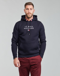 Clothing Men Sweaters Tommy Hilfiger STACKED TOMMY FLAG HOODY Marine