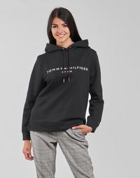 Clothing Women Sweaters Tommy Hilfiger HERITAGE HILFIGER HOODIE LS Black