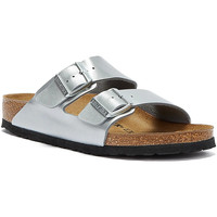 Shoes Women Mules Birkenstock Arizona Birko Flor Womens Silver Sandals Silver