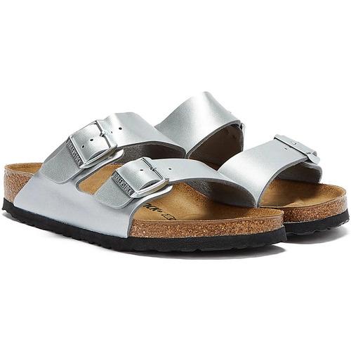 Shoes Women Mules Birkenstock Arizona Birko Flor Womens Silver Sandals Silver